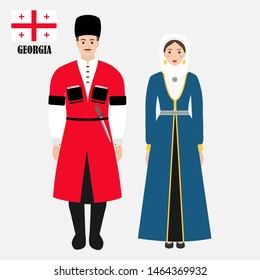 Georgians in national dress with a flag. Man and woman in traditional costume. Travel to Georgia. People. Vector flat illustration