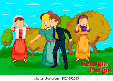 Georgie Porgie Pudding and Pie, Kids English Nursery Rhymes book illustration in vector