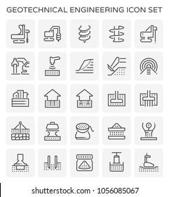 Geotechnical engineering icon set.
