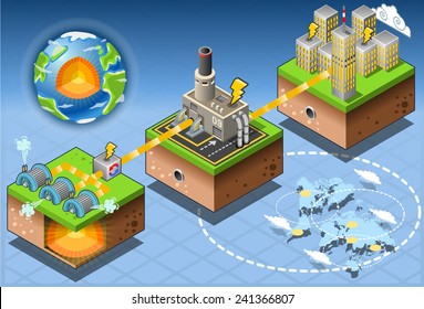Geothermal Earth Energy Heat Pump Diagram. 3D Isometric Infographic of Geothermal Energy Chain Harvesting and Distribution Diagram. Geothermal Loop Thermal Energy Power Vector Illustration.