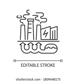 Geothermal energy linear icon. Industrial power plant, thermal station thin line customizable illustration. Contour symbol. Sustainable energy. Vector isolated outline drawing. Editable stroke