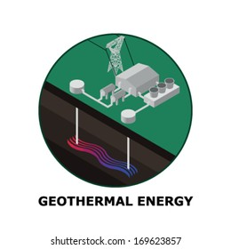 Geothermal Energy, Renewable Energy Sources - Part 7  (both circle and square version is available in the vector file)