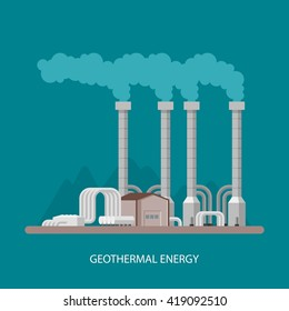 Geothermal power plant and factory. Geothermal energy industrial concept. Vector illustration in flat style. Geothermal station background. Renewable energy sources.