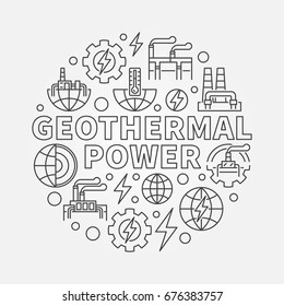 Geothermal power round illustration - vector renewable energy concept symbol in thin line style