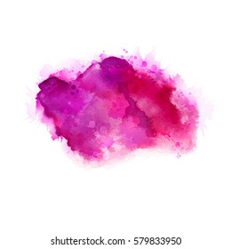 Geranium, hot pink and magenta watercolor stains. Bright color element for abstract artistic painting background.