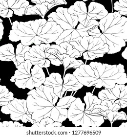 Geranium leaves black and white background . Seamless vector pattern.