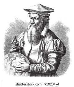 Gerard Mercator, vintage engraved illustration. Magasin Pittoresque 1875.