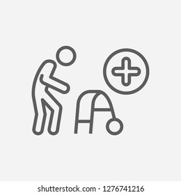 Geriatrics icon line symbol. Isolated vector illustration of  icon sign concept for your web site mobile app logo UI design.