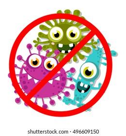 Germ, Bacteria, Virus, Microbe, Pathogen Characters. Cartoon, fun for children characters. Vector illustration