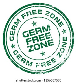 Germ Free Zone. Vector Rubber Stamp.
