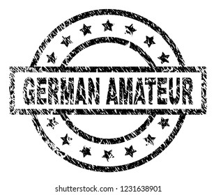 GERMAN AMATEUR stamp seal watermark with distress style. Designed with rectangle, circles and stars. Black vector rubber print of GERMAN AMATEUR label with dust texture.