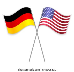 German and American crossed flags. Germany combined with United States of America isolated on white. Language learning, international business or travel concept.