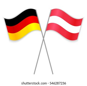 1713e2f031e German and Austrian crossed flags. Germany combined with Austria isolated  on white. Language learning