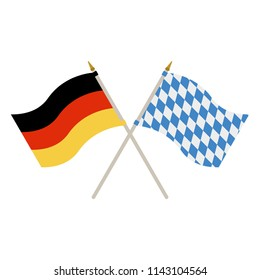 German and Bavarian Flags - Waving German and Bavarian flags isolated on white background