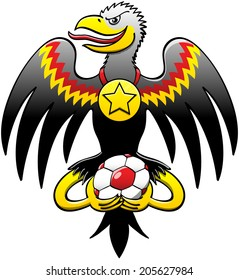 German black eagle posing, smiling mischievously, staring at you, opening its wings, showing a starred medal hanging from its neck and holding a soccer ball with its talons