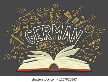 German. Book with hand drawn and lettering.  Der, die, das, er, sie, es, ich, haben, zeiten, sein, zukunft, hallo, verben,du. Translation: the, he, she, it, me, have, times, be, future,hello, verb,you