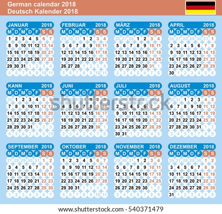 german calendar 2018 vector template numbers in circle the blue coloring week