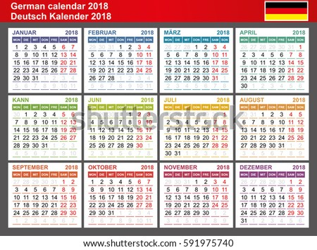 german calendar 2018 week starts monday seasons of different colors vector template