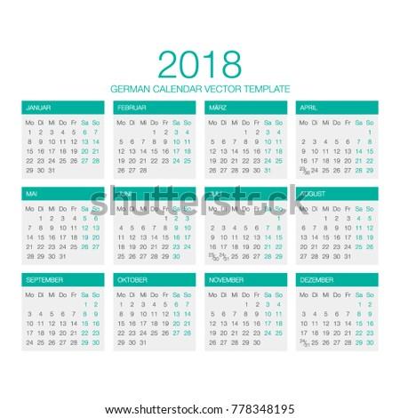 german calendar vector 2018