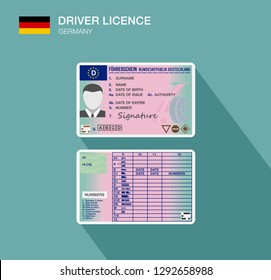 German car driver license identification. Flat vector illustration. Germany.