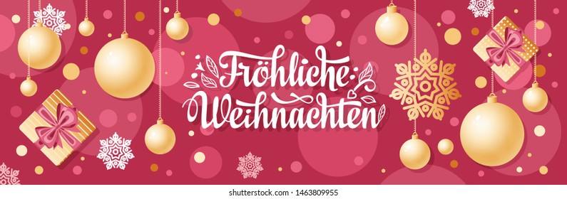 German Christmas text Frohe Weihnachten. Horizontal header Christmas Top view Flat lay banner poster. Christmas typography. Happy Christmas in Deutschland. Xmas greeting card Weihnachtskarte.Frohliche
