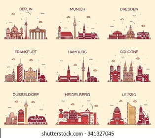 German cities. Berlin, Munich, Dresden, Frankfurt, Hamburg, Cologne, Dusseldorf, Heidelberg, Leipzig detailed silhouette. Trendy vector illustration, linear style
