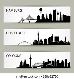 German cities skylines - vector illustration
