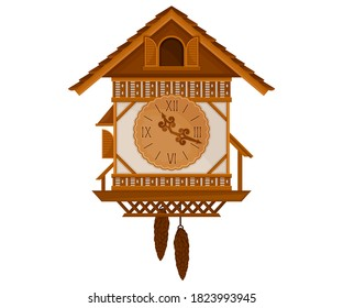 German Cuckoo Clock as Pendulum Clock Vector Illustration