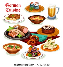 German cuisine traditional beer, sausage and wurst icon, served with potato salad, bacon soup with pretzel, fish roll, pork schnitzel, noodle soup with brussel sprouts, chocolate cake with almond.
