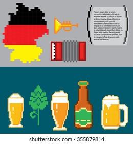 German culture symbols banners. Pixel art. Old school computer graphic style.