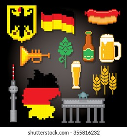 German culture symbols icons set. Pixel art. Old school computer graphic style.