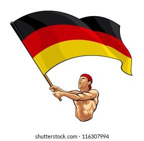 German Fan Waving Flag
