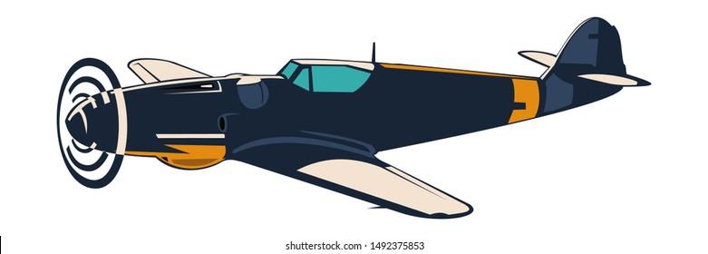 German fighter plane WWII Vector Illustration