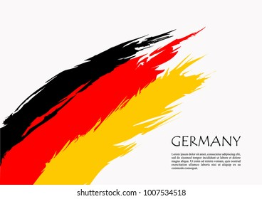 German flag brush stroke background. Grunge style vector icon.