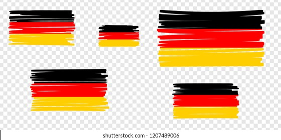 German Flag with colored hand drawn lines. Vector illustration