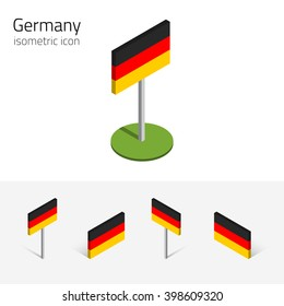 German flag (Federal Republic of Germany), vector set of isometric flat icons, 3D style, different views. Editable design elements for banner, website, presentation, infographic, poster, card. Eps 10