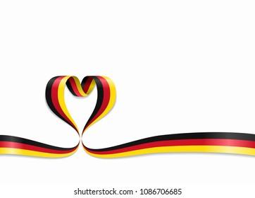 German flag heart-shaped wavy ribbon. Vector illustration.
