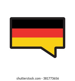 German flag in speech bubble flat vector icon on white background. Speak on German language.For those who learn German language.