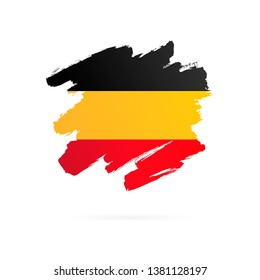 German flag. Vector illustration on white background. Brush strokes drawn by hand. National Unity Day of Germany.