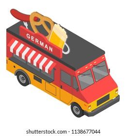 German food truck icon. Isometric of german food truck vector icon for web design isolated on white background