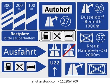 German Freeway signs, collection, vector graphics eps10