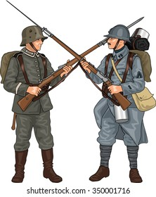 German and French Soldiers from First World War Crossing Each Others Rifles with Bayonets, Illustration Isolated on White Background, EPS 10 Vector