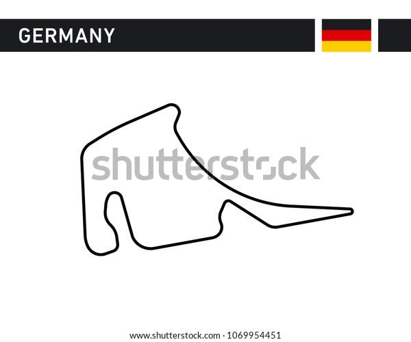 German Germany Deutschland Race Track Circuit Stock Vector
