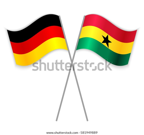 German and Ghanaian crossed flags. Germany combined with Ghana isolated on white. Language learning, international business or travel concept.