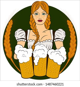 German girl with golden braids, big breasts in a traditional dress holding three mugs of beer. Oktoberfest. Vector illustration.