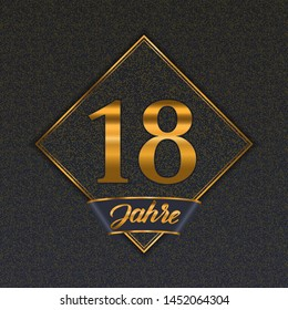 German golden number eighteen years (18 years) celebration design. Anniversary golden number with luxury backgrounds for your birthday party