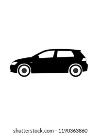 A german hatchback in black and white, isolated vector. Volkswagen golf