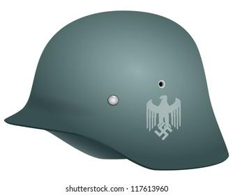 German helmet from the Second World War. Vector illustration.