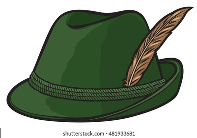 89be86e412bb9e german hunting hat with feather and rope vector illustration