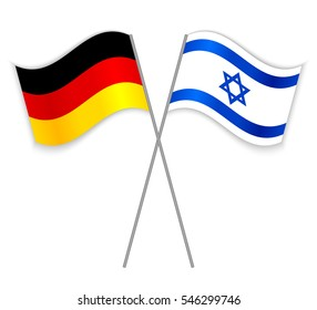 German and Israeli crossed flags. Germany combined with Israel isolated on white. Language learning, international business or travel concept.